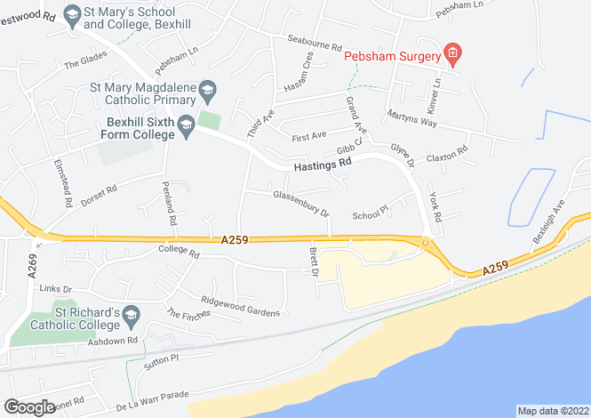 Map for Glassenbury Drive, Bexhill-On-Sea, TN40