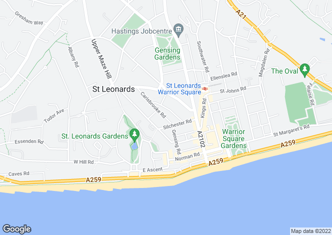 Map for Carisbrooke Road, St. Leonards-On-Sea TN38