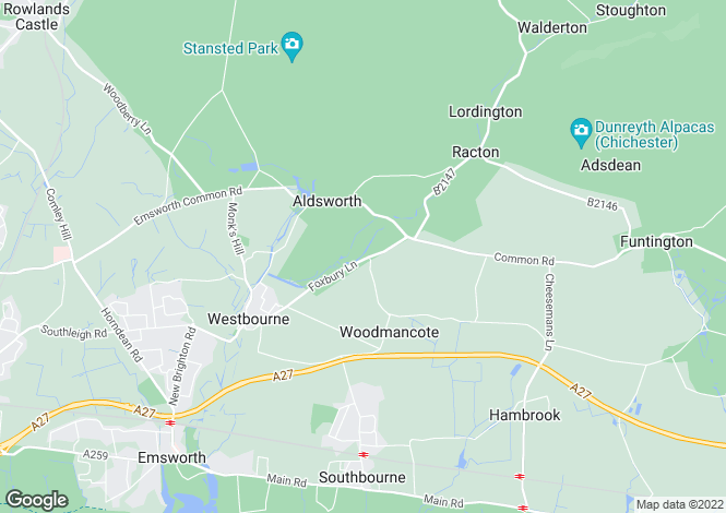Map for Foxbury Lane, Woodmancote, Emsworth, Hampshire