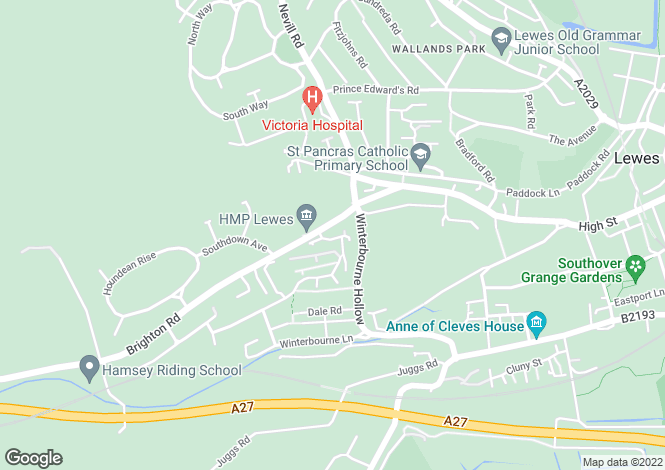 Map for Warren Drive, LEWES, East Sussex