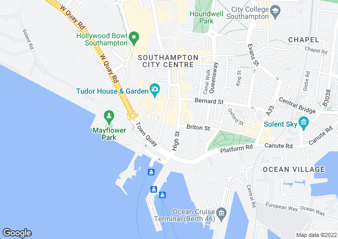 Map for French Quarter, Southampton