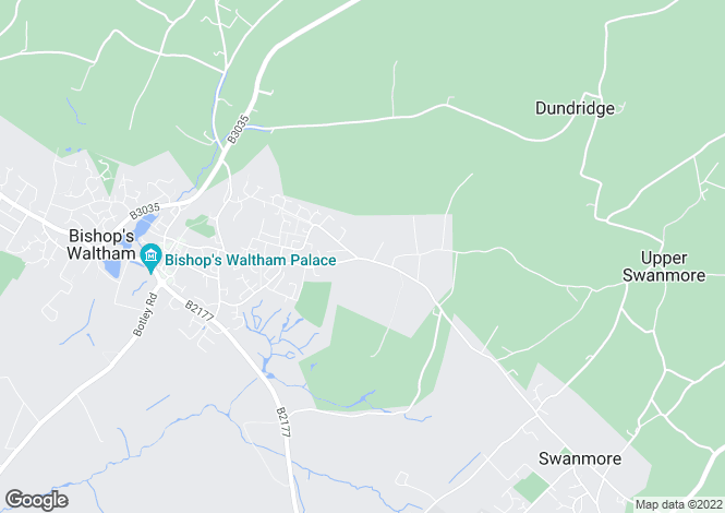 Map for Hoe Road, Bishops Waltham, SO32