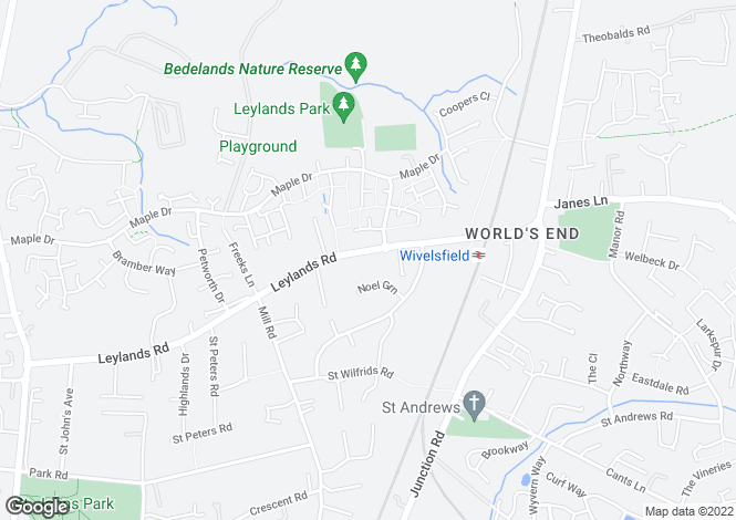 Map for Leylands Road, Burgess Hill, West Sussex