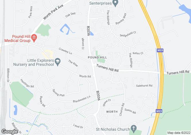 Map for Turners Hill Road, Worth
