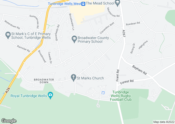Map for Broadwater Down, Tunbridge Wells, Kent, TN2