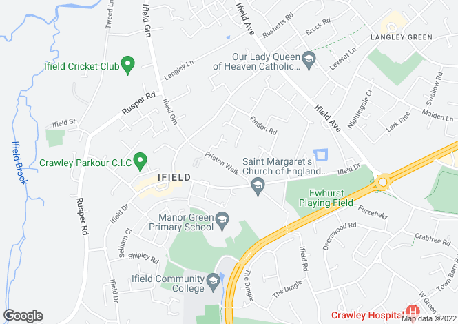 Map for The Martlets, Friston Walk, Crawley