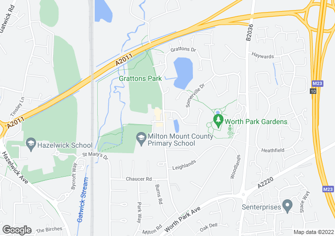 Map for Ruskin Close, Crawley