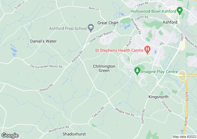 Map for Chilmington Green, Great Chart, Ashford, Kent