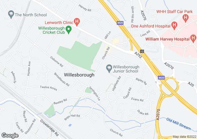 Map for Church Road, Willesborough, Ashford, Kent