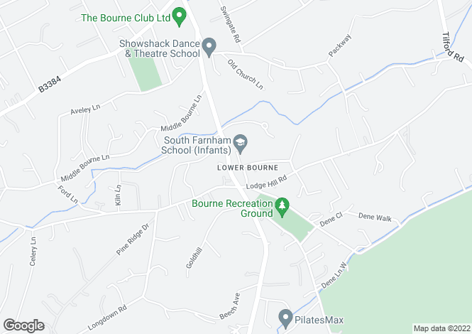 Map for School Lane, Lower Bourne, Farnham, Surrey