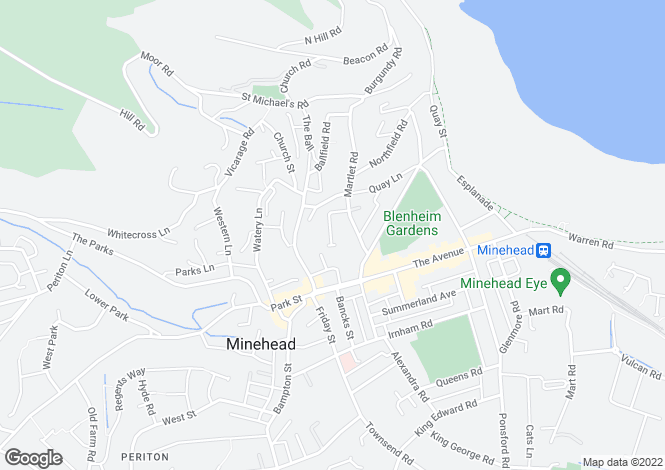 Map for Martlet Road, Minehead