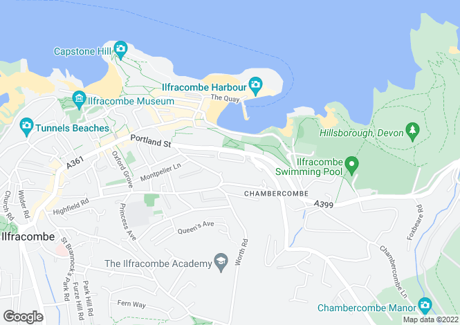 Map for Hillsborough Terrace, Ilfracombe