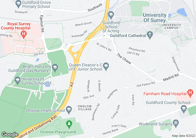 Map for Queen Eleanors Road, Guildford, Surrey, GU2