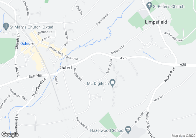 Map for Brassey Road, Oxted, Surrey