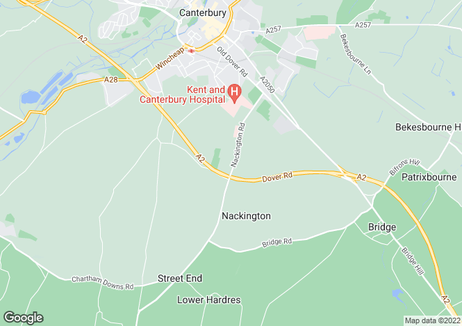 Map for Nackington Road, Canterbury