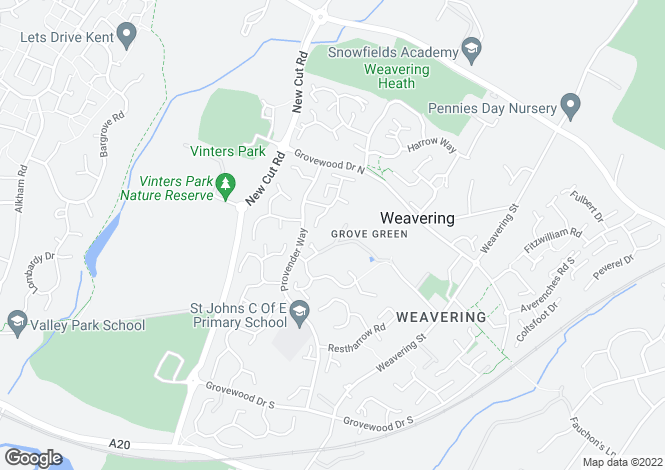 Map for Grove Green, Weavering, Maidstone, Kent