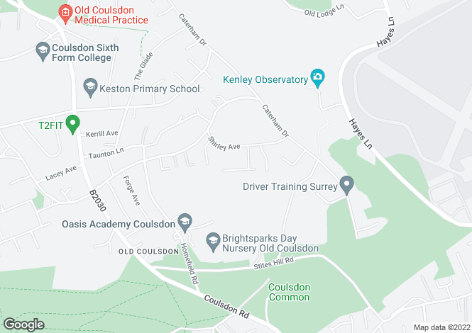 Map for Carew Close, Old Coulsdon