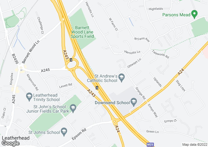 Map for Grange Road, Leatherhead, Surrey, KT22