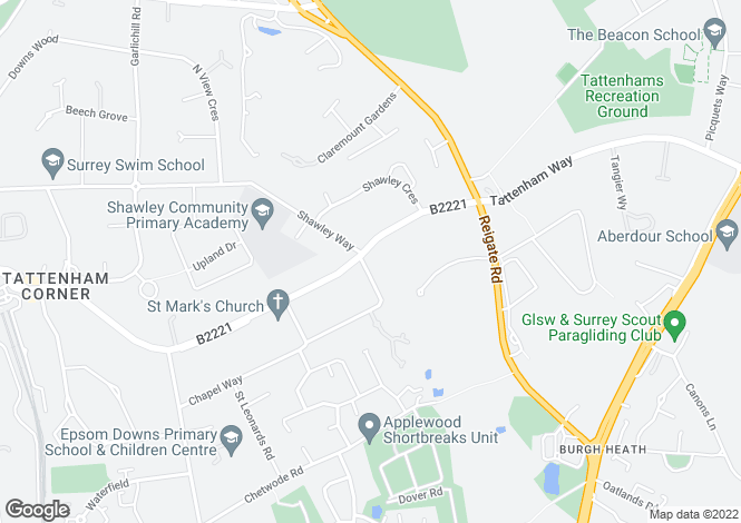 Map for Chapel House, Wesley Place, Epsom Downs, Surrey, KT18