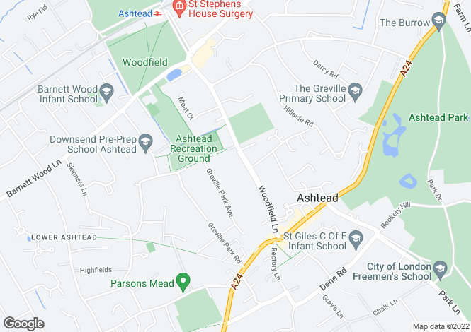 Map for Woodfield Lane, Ashtead
