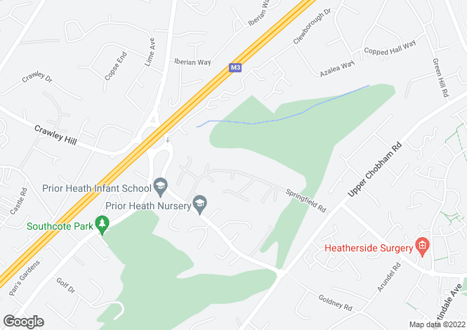 Map for Springfield Road, Camberley, Surrey, GU15