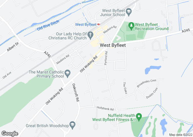 Map for West Byfleet, Surrey, KT14