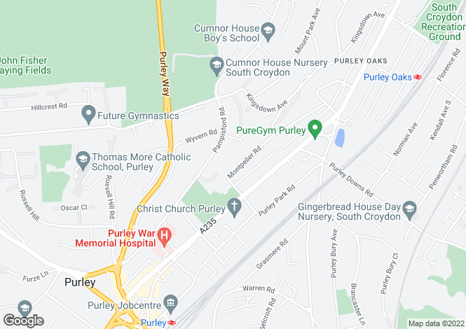 Map for Montpelier Road  Purley