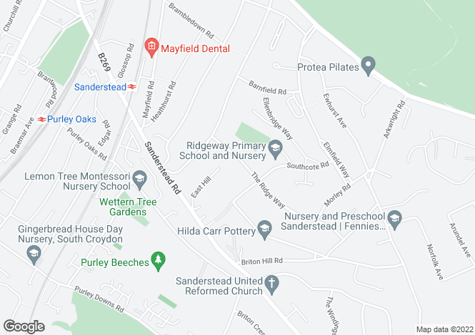 Map for The Ridge Way,  Sanderstead