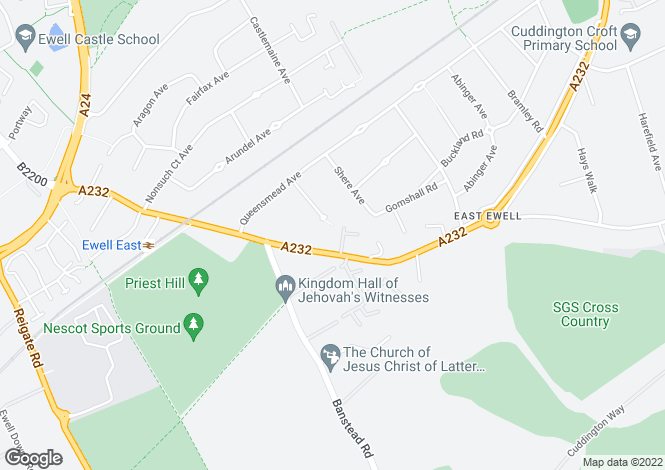 Map for Springfield Road, Ewell, Surrey, KT17