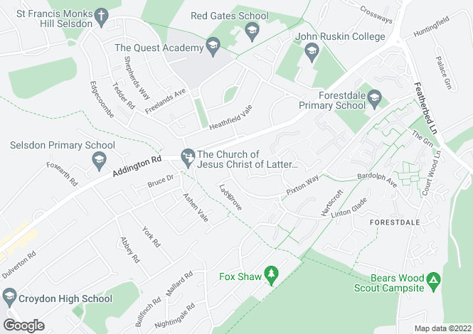 Map for Middlefields, Pixton Way, Forestdale