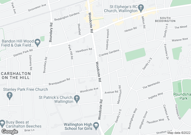 Map for Windsor Court, 156 Woodcote Road, Wallington, SM6