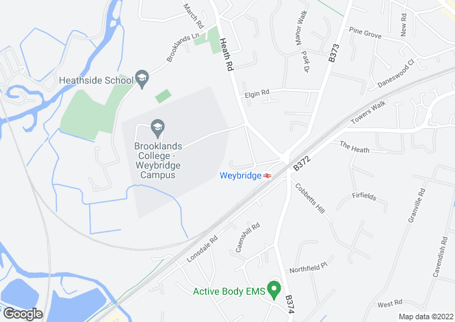 Map for Caenwood Close, Weybridge, KT13
