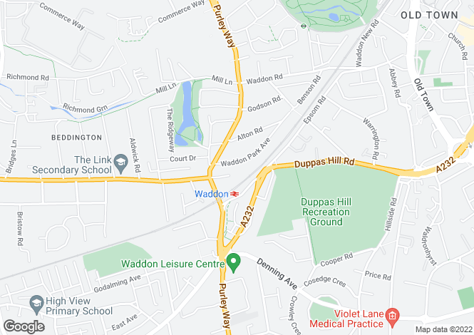 Map for Waddon Park Avenue, Croydon, CR0