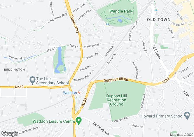 Map for Waddon Park Avenue, Croydon
