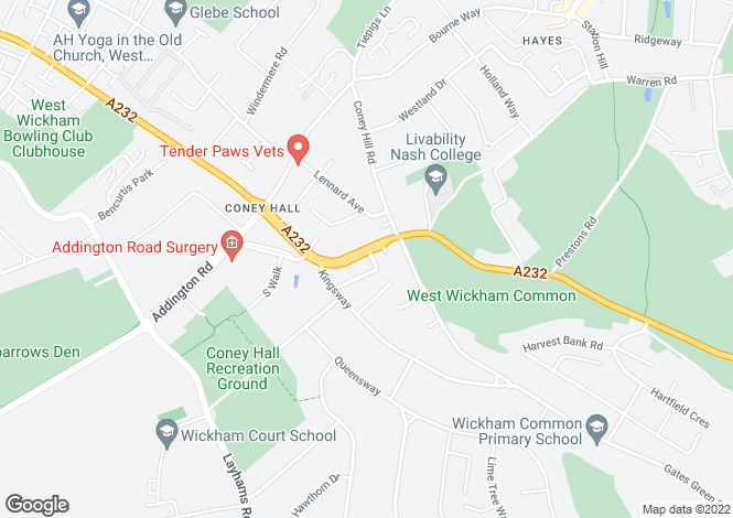 Map for Croydon Road, WEST WICKHAM, BR4, Kent