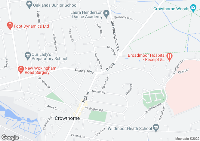 Map for Cheney Court, Pinewood Avenue, Crowthorne