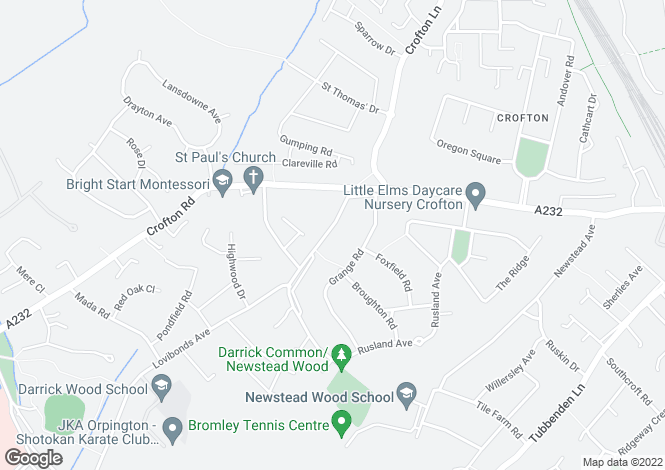 Map for Crofton Avenue, Orpington, Kent