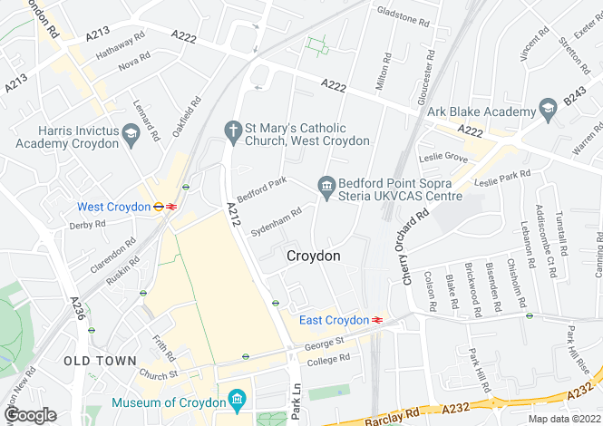 Map for Sydenham Road,  Croydon