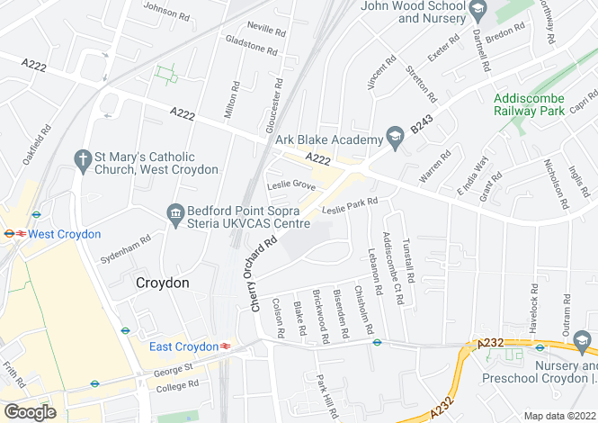 Map for Cherry Orchard Road, East Croydon, CR0