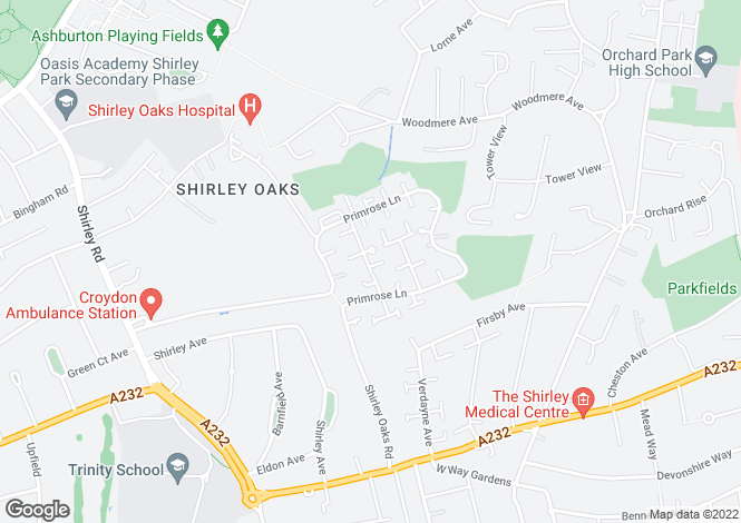 Map for Shirley Oaks Village, Croydon, Surrey
