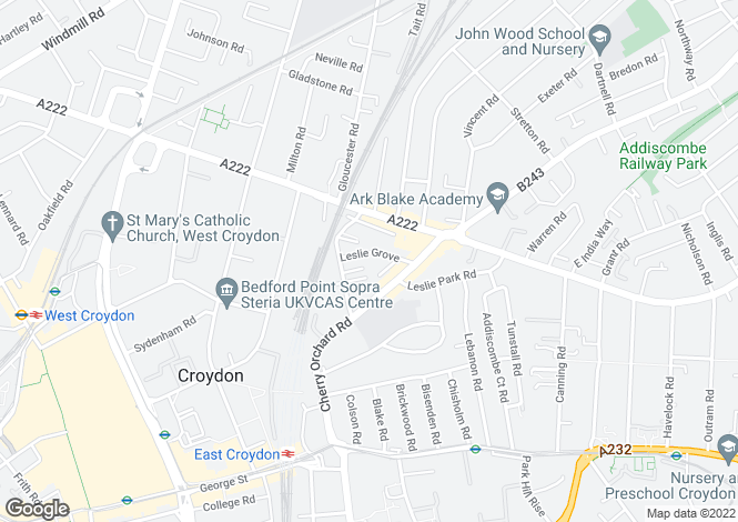 Map for Leslie Grove, Croydon, CR0