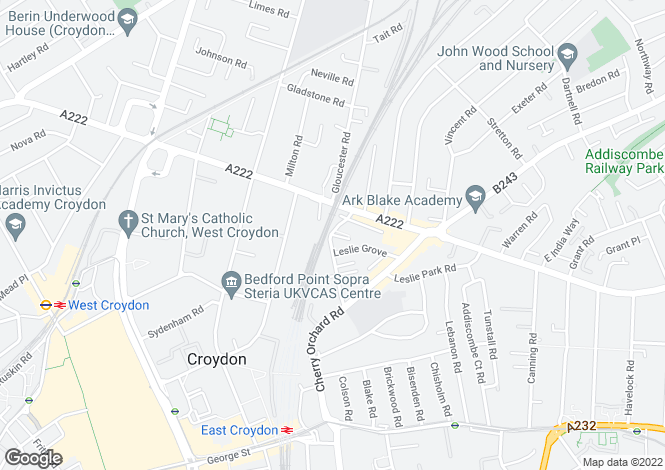 Map for Cross Road, Croydon