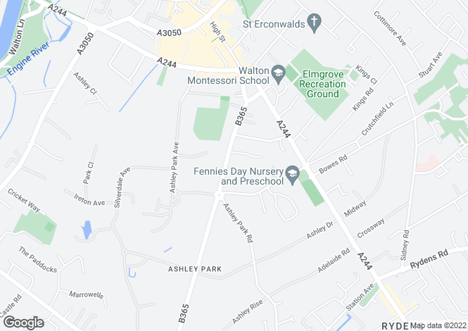Map for Ashley Road, Walton on Thames, KT12