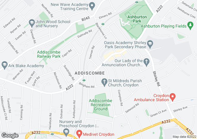 Map for Lower Addiscombe Road,