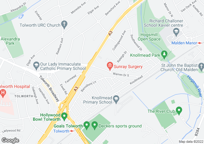 Map for Warren Drive South, Tolworth, KT5