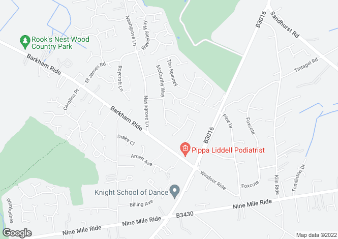 Map for Mccarthy Way, Finchampstead, Wokingham