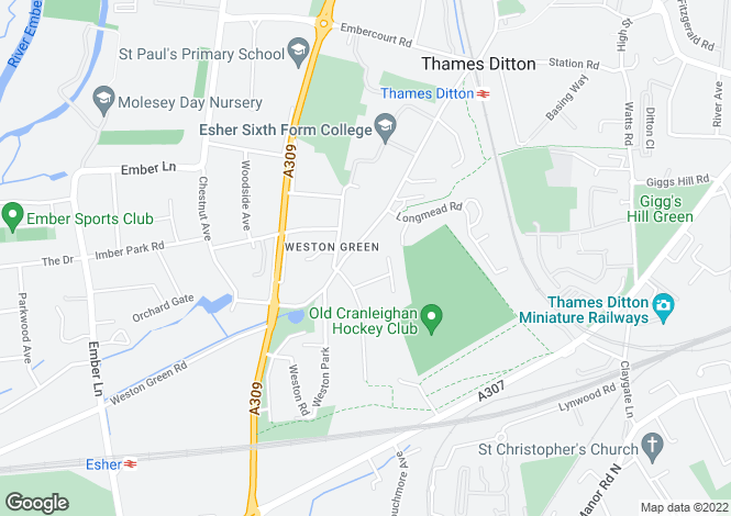 Map for Weston Green, Thames Ditton, Surrey