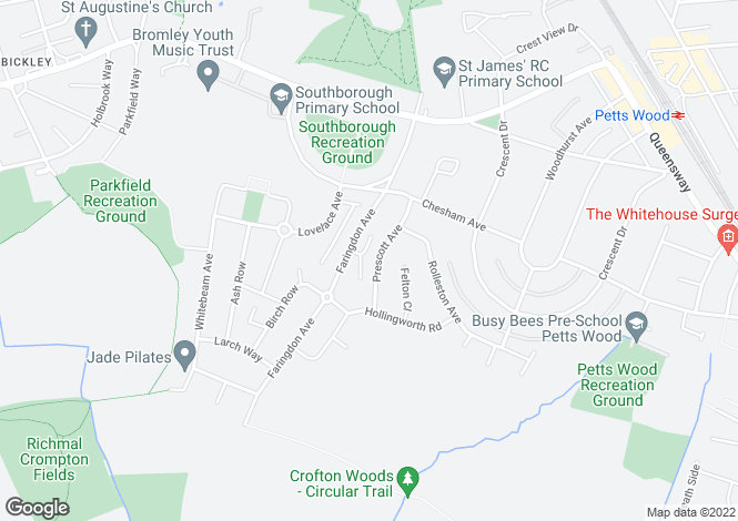 Map for Petts Wood, Orpington, BR5