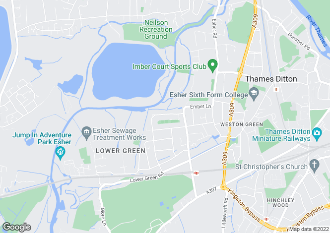 Map for Grove Way, Esher KT10