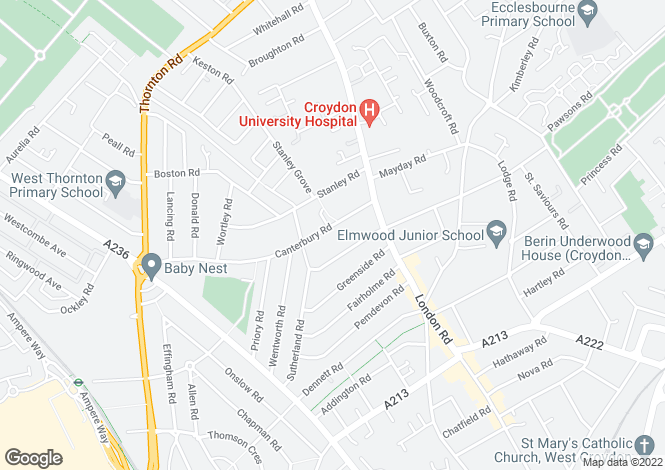 Map for Canterbury Road, CROYDON